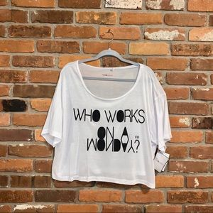 Graphic White Oversized Cropped T Shirt Large